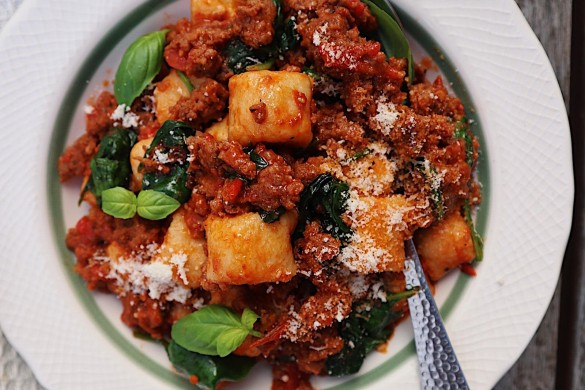 Ricotta gnocchi with beef sausages image